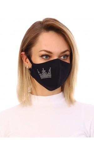 Повязка для лица со стразами корона, черный, Модель: 1120